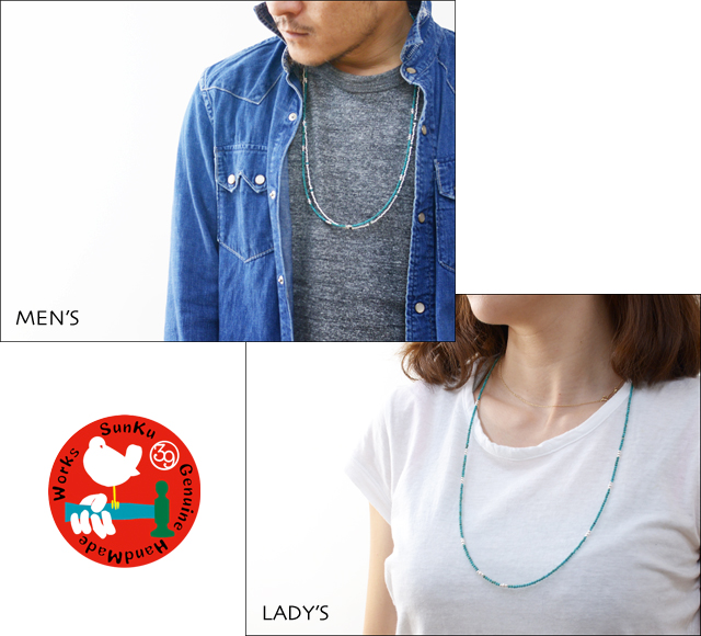 Sunku 39 [サンク] SMALL BEADS LONG NECKLACE & BRACELET TURQUOISE&SILVER [SK-109]_f0051306_187339.jpg