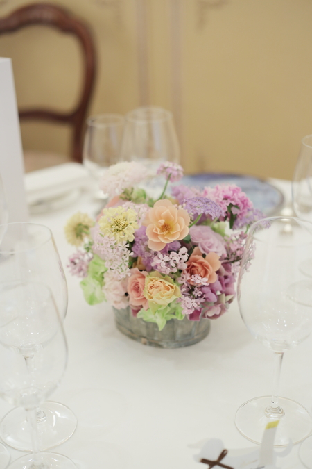 春の装花 リストランテASO様へ 淡い紫で  リトルシルバー、そら_a0042928_20134748.jpg