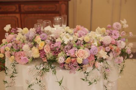 春の装花 リストランテASO様へ 淡い紫で  リトルシルバー、そら_a0042928_20184917.jpg
