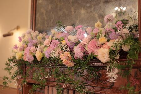 春の装花 リストランテASO様へ 淡い紫で  リトルシルバー、そら_a0042928_20193248.jpg