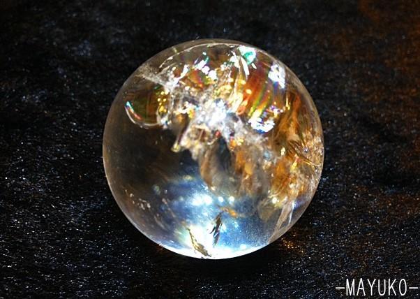 〔パワーストーン〕★№1★アイリスクォーツ(水晶) 丸玉(台座付き)_b0298740_18062048.jpg