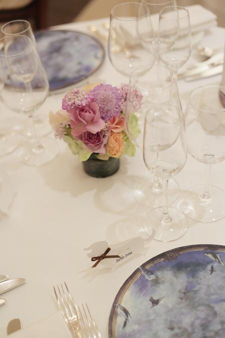 春の装花 リストランテASO様へ 淡い紫で  リトルシルバー、そら_a0042928_13132839.jpg