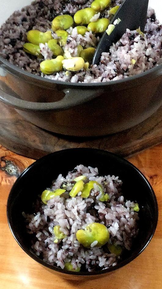 黒米と空豆のごはん弁当_b0171098_10123282.jpg