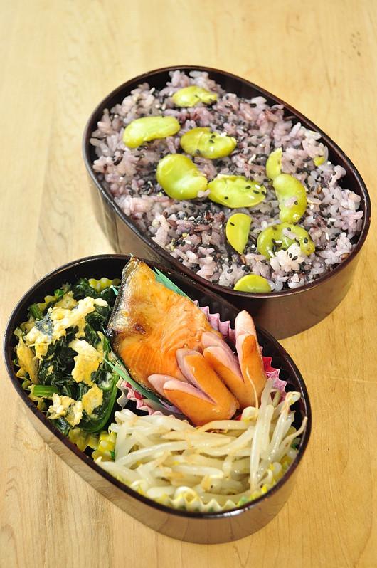 黒米と空豆のごはん弁当_b0171098_97306.jpg