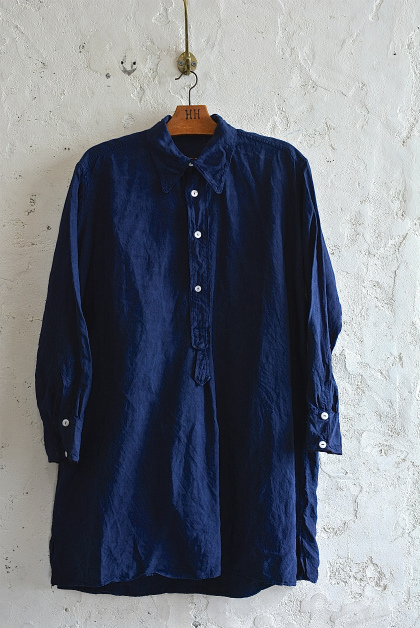 Vintage & antique linen Grand-pa shirts over dyed by indigo color _f0226051_15121283.jpg
