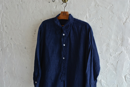 Vintage & antique linen Grand-pa shirts over dyed by indigo color _f0226051_15123091.jpg