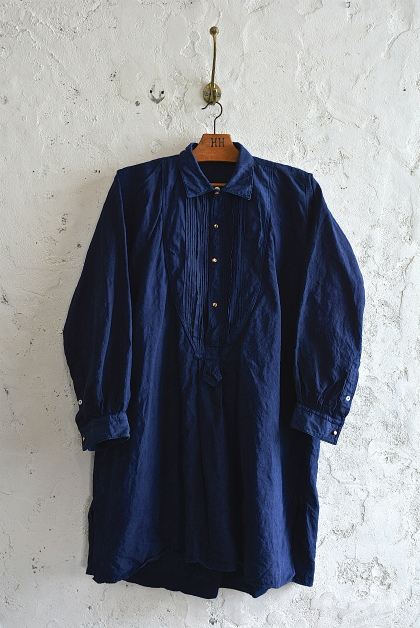 Vintage & antique linen Grand-pa shirts over dyed by indigo color _f0226051_15204686.jpg