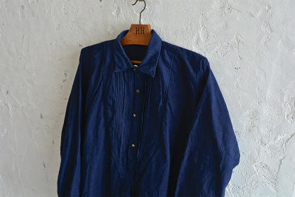 Vintage & antique linen Grand-pa shirts over dyed by indigo color _f0226051_15275299.jpg