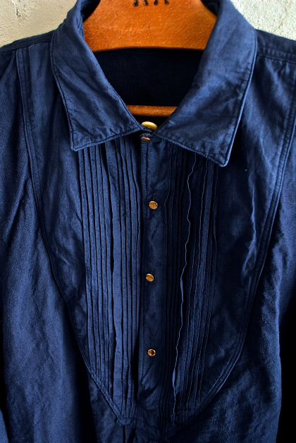 Vintage & antique linen Grand-pa shirts over dyed by indigo color _f0226051_15283947.jpg