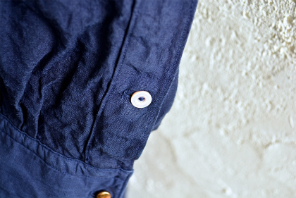 Vintage & antique linen Grand-pa shirts over dyed by indigo color _f0226051_15354381.jpg