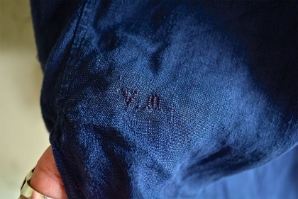 Vintage & antique linen Grand-pa shirts over dyed by indigo color _f0226051_1593664.jpg