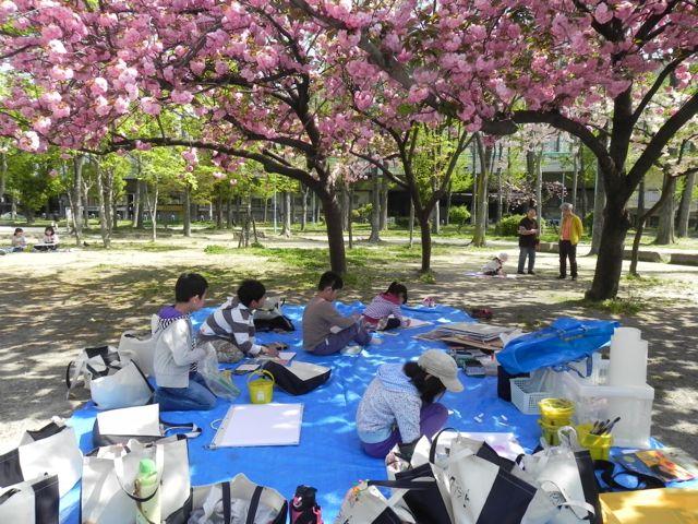 八重桜で写生会_d0076558_5515435.jpg
