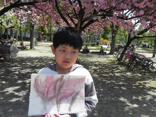 八重桜で写生会_d0076558_5594287.jpg