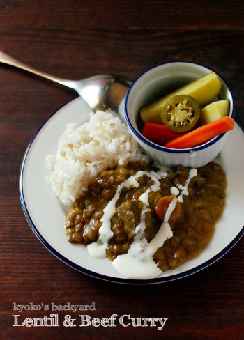 レンズ豆と牛肉のカレーと、自家製ピクルス_b0253205_02294436.jpg