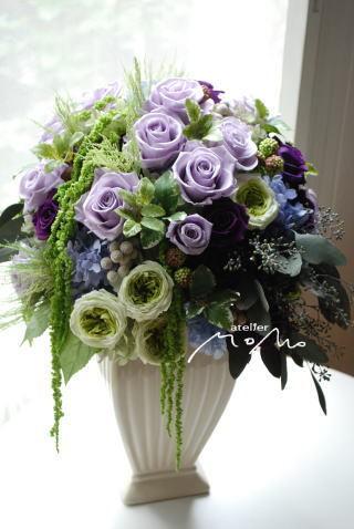 紫のバラのアレンジ_a0136507_21282511.jpg