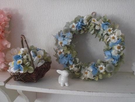 アナ雪風ブルー×ホワイト紫陽花かごアレンジ_c0207719_17522218.jpg