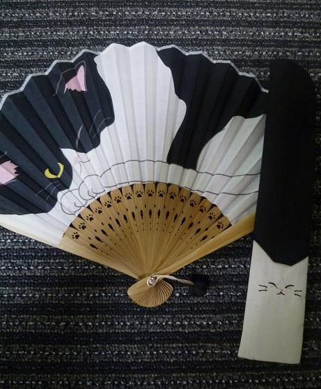 涼しげな羽織・本塩沢の着姿・猫の扇子素敵な方のもとへ_f0181251_17501838.jpg
