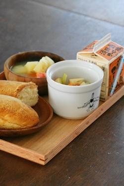 夫 朝ごはん8 揚げパンで給食風_b0048834_10573114.jpg