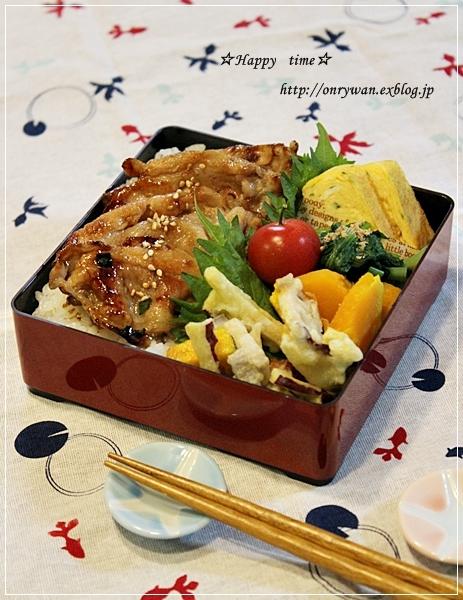 豚生姜焼きのっけて弁当と抹茶マーブルラウンドパン♪_f0348032_19150368.jpg