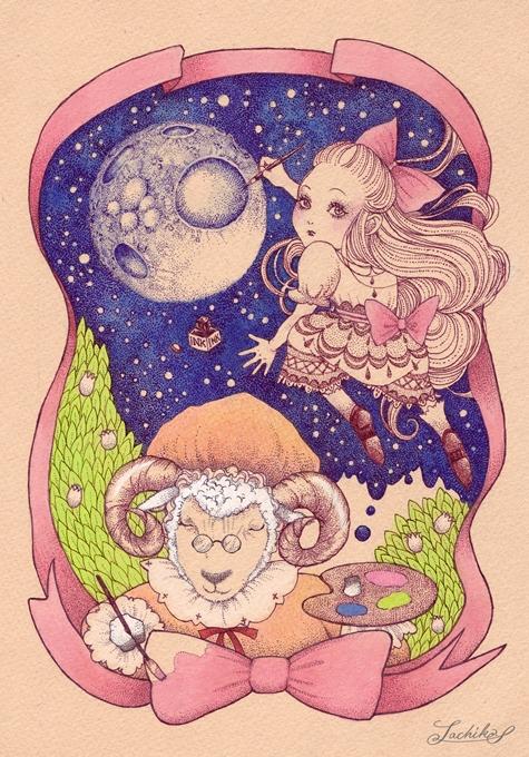 月と眠り羊と女の子 <つれづれイラストレーション50>_f0228652_19555955.jpg