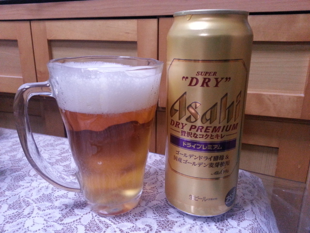 今夜のビールVol.207 アサヒスーパードライ ドライプレミアム500ml¥275&菊水白缶&鮪大トロ_b0042308_1122875.jpg