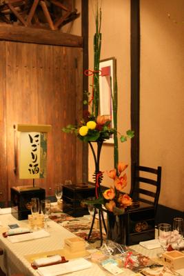 百年蔵 会場装花(和モダンで......黄色のピンポンマムが好きな花嫁さん)_e0149863_22474846.jpg