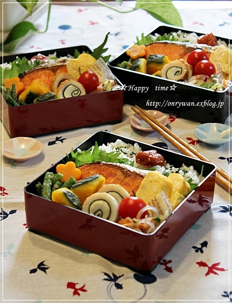 焼き鮭弁当♪_f0348032_18560404.jpg