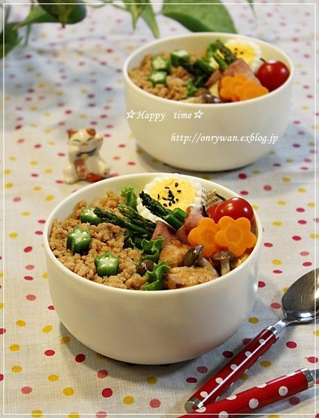 鶏そぼろ弁当と紫陽花☆アナベル♪_f0348032_19271641.jpg
