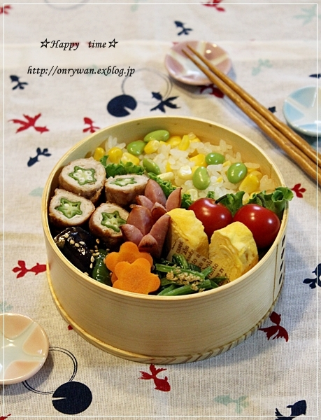 トウモロコシご飯弁当と平焼きあんぱん♪_f0348032_19190434.jpg