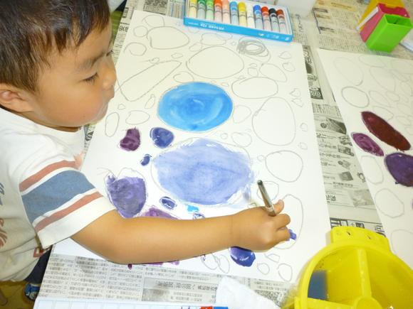 6月の混色レッスン「大きなブドウ」 *園児~低学年の子たち_b0215321_19485411.jpg