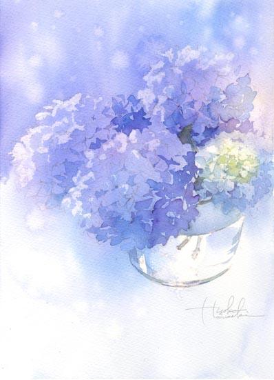 紫陽花 水彩画 その3_f0176370_16282074.jpg