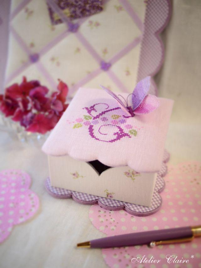 紫陽花シリーズの花刺繍のカルトナージュ_a0157409_08391733.jpg