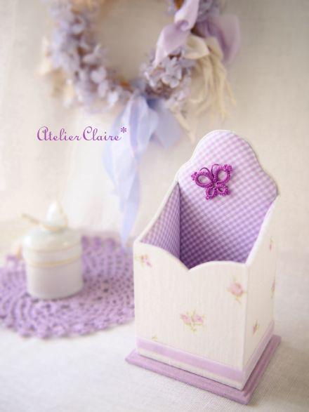 紫陽花シリーズの花刺繍のカルトナージュ_a0157409_08404893.jpg