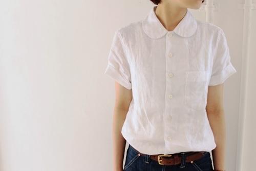 丸襟のリネンシャツ。_e0247148_19345304.jpg