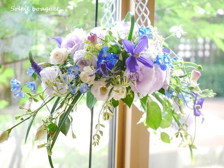 ジューンブライドの青いハンギングブーケ☆_c0098807_19592326.jpg