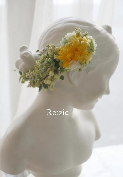 2015.7.6 花冠のバックコサージュを別のヘアアレンジに/プリザーブドフラワー_b0120777_22151687.jpg