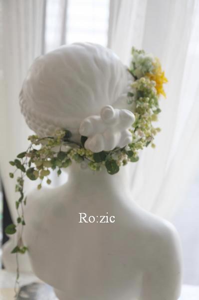 2015.7.6 花冠のバックコサージュを別のヘアアレンジに/プリザーブドフラワー_b0120777_22153572.jpg