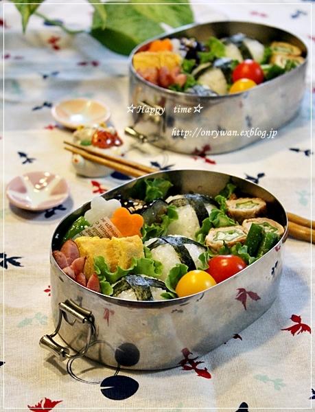 おむすびさん弁当ときゅうりの漬物♪_f0348032_19185807.jpg