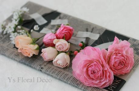 ピンク色のドレスにあわせるミックスカラーのブーケ_b0113510_11531226.jpg