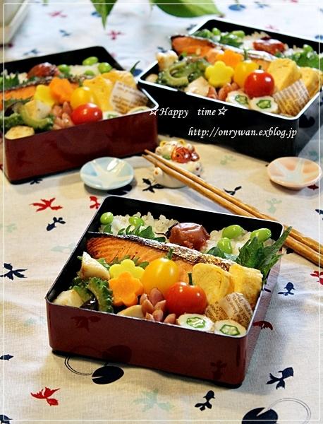 鮭弁当と自家製梅干し♪_f0348032_18581900.jpg
