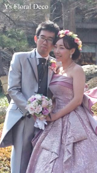 ピンク色のドレスにあわせるミックスカラーの花冠_b0113510_10504475.jpg