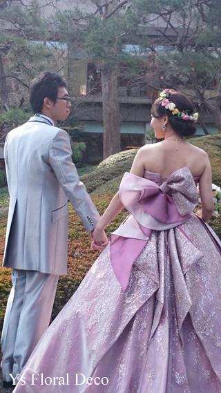 ピンク色のドレスにあわせるミックスカラーの花冠_b0113510_10505192.jpg