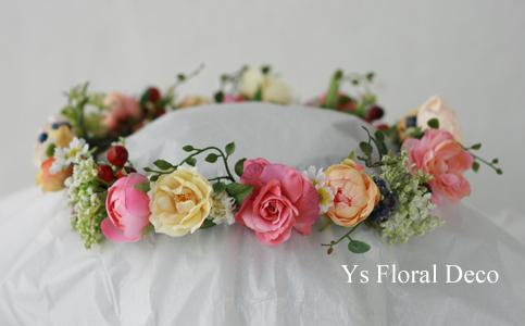 ピンク色のドレスにあわせるミックスカラーの花冠_b0113510_10512749.jpg