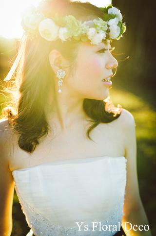 ハワイ挙式の新婦さんへ 白グリーンの花冠_b0113510_1582862.jpg