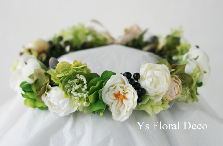 ハワイ挙式の新婦さんへ 白グリーンの花冠_b0113510_1584591.jpg