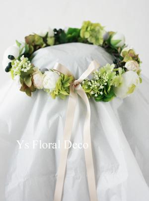 ハワイ挙式の新婦さんへ 白グリーンの花冠_b0113510_1585335.jpg