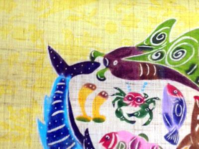 教室完成作品!沖縄の海モチーフのれん(中級C)_a0079315_10311722.jpg