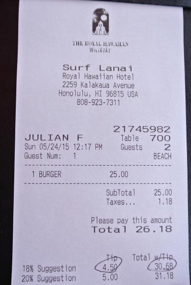 2015.05 HNL⑪ ロイヤルハワイアン ビーチでハンバーガー_e0219520_16042068.jpg