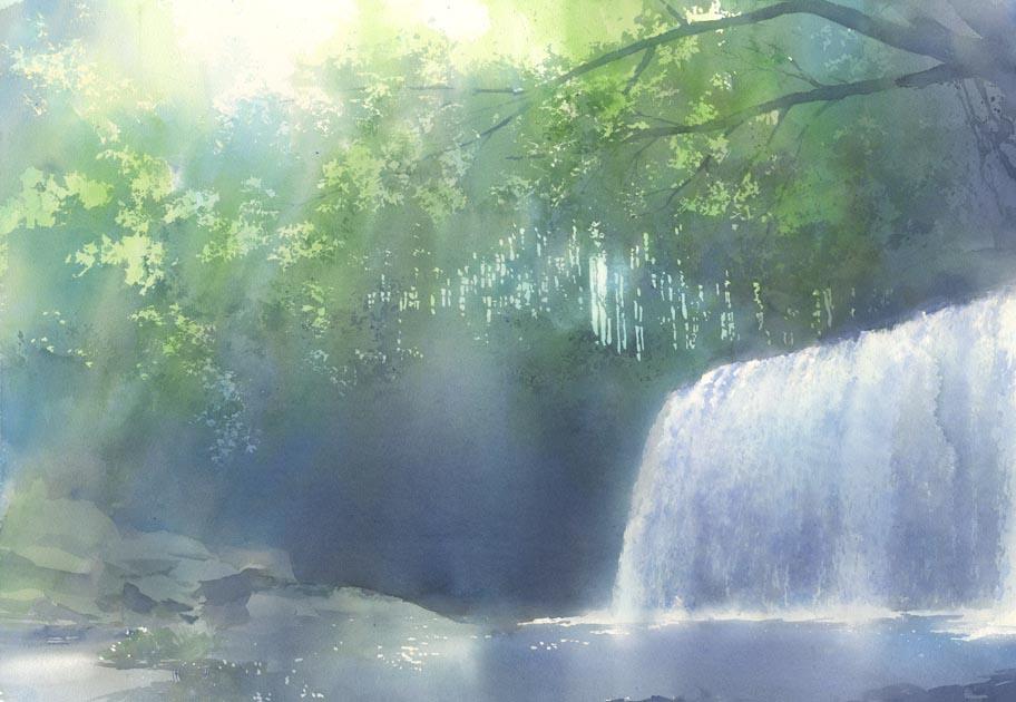 滝の絵 途中終了_f0176370_10225538.jpg