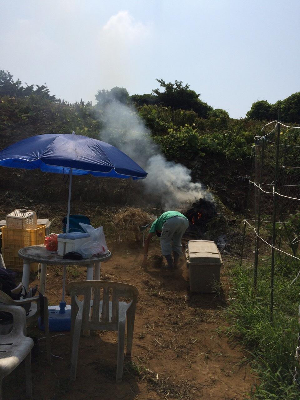 今朝は 石川さん 田中さん 飯田の3名です 刈った草達を燃やしていきます_c0222448_11523599.jpg